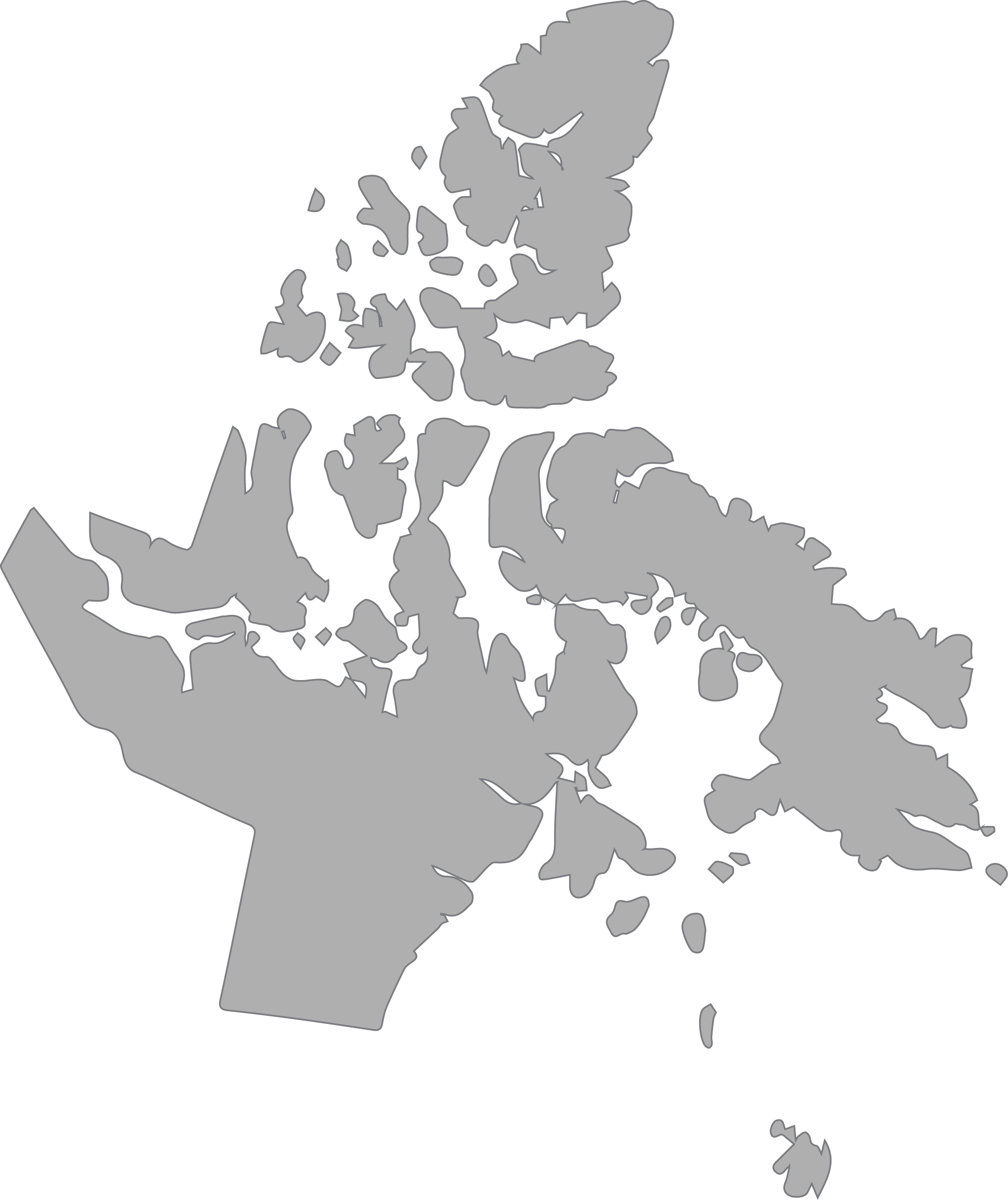 Outlined map of Nunavut